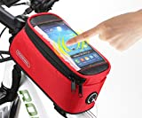 Roswheel 2014 New Updated Cycling Bicycle Bike Front Tube Top Tube Smartphone Bag Frame Pannier Phone Holder for iPhone Samsung HTC Nokia Sony LG and other Smartphones (Garnet, L-5.5)