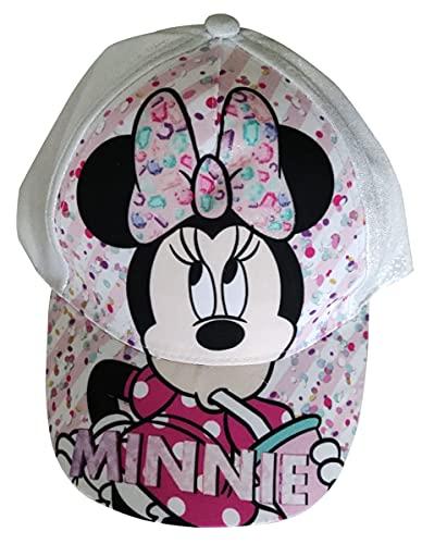 Minnie Maus Kappe Base Cap Mütze Sonnenhut mit Motiv Minnie mit Schleife, Konfetti und Glitzer für Kinder, Mädchen und Jungen (weiß, 54)