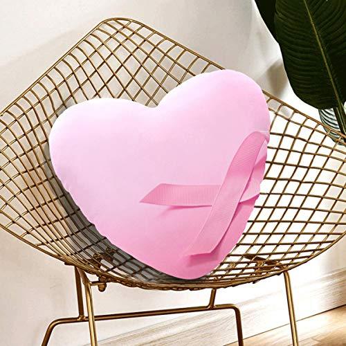 JOCHUAN Valentines Heart Pillow Pink Ribbon Concientización sobre el cáncer de Mama Personalized Heart Pillow 13.78 X 13.78 Inch Cojín en Forma de corazón Regalo para Amigos/niños/niña/día de