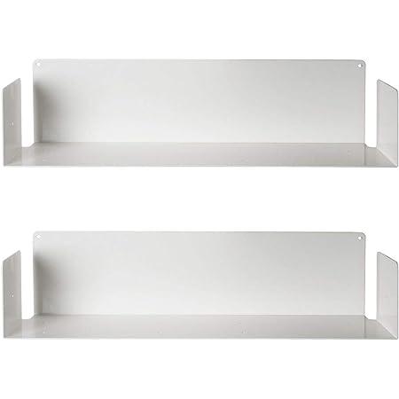 TEEbooks - Estante para Libros de Acero Inoxidable, de Color Blanco, de 60 x 15 x 15 cm