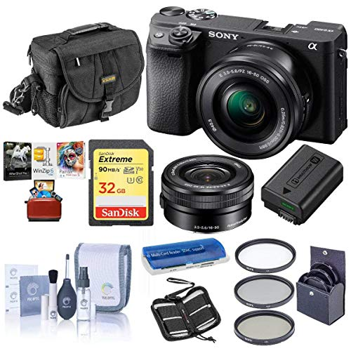 Sony Alpha a6400 24.2MP Mirrorless Digital Camera with 16-50mm f/3.5-5.6 OSS Lens - Bundle with Camera Case, 32GB SDHC Card, 40.5mm Filter Kit, Cleaning Kit, Card Reader, Memory Wallet, Mac Software