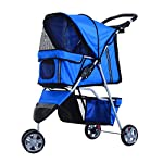 PawHut Pet Travel Stroller Cat Dog Pushchair Trolley Puppy Jogger Carrier Three Wheels (Blue) 10
