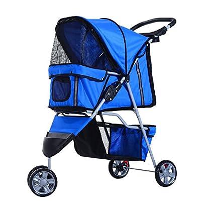 PawHut Pet Travel Stroller Cat Dog Pushchair Trolley Puppy Jogger Carrier Three Wheels (Blue) 1