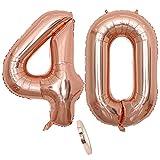 Globos numeros 40 años, Number globo número 40 oro rosa para niña Mujeres Chica, 40' Figuras Decor globo de lámina de helio inflable, gigante grande decoración fiesta de cumpleaños boda (xxxl 100cm)