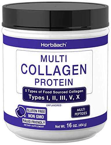 Multi Collagen Powder | 16.2 oz | Type I, II, III, V, X | Hydrolyzed Collagen Peptide Protein Powder | Keto & Paleo Friendly | Unflavored | Non-GMO, Gluten Free | by Horbaach