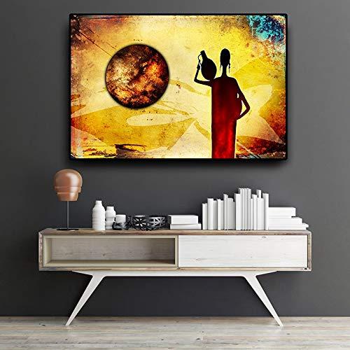 Pintura al óleo de paisaje de oro africano de mujer abstracta sobre lienzo carteles e impresiones Vintage Cuadros cuadro de arte de pared para sala de estar 30x45cm