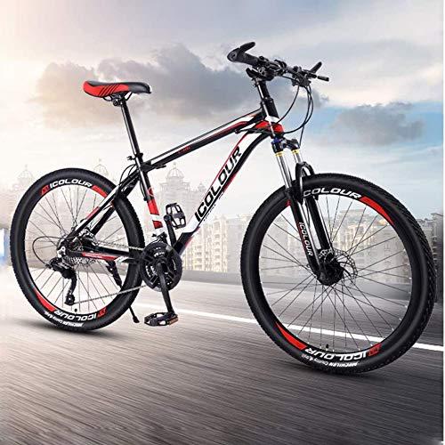 jooe Mountain Bike 24 Pollici Adulti Doppio Freno A Disco Uomini Donne 21 24 Bicicletta Studente velocità Variabile con Ruote A Raggi,21speed-24Inch