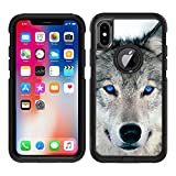 Teleskins Protective Designer Vinyl Skin Decals/Stickers Compatible with Otterbox Commuter iPhone Xs/iPhone X Case - Blue Eyed Wolf Face Wolves Design Patterns - only Skins and not Case