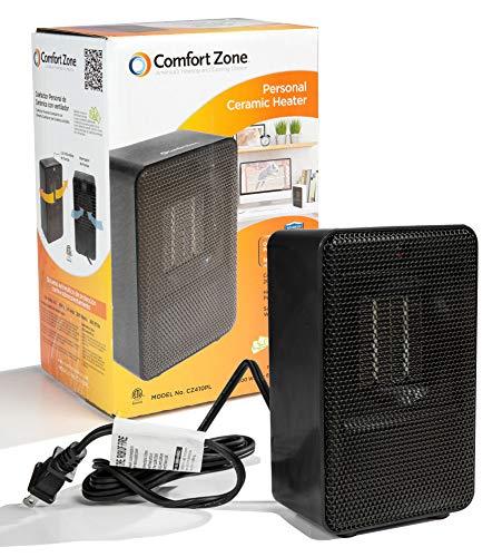 Comfort Zone Personal Ceramic Heater, Black