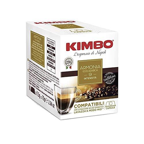 80 Capsule Caffe Kimbo Compatibili Lavazza a Modo Mio Miscela Armonia 100% Arabica box da 10 Capsule
