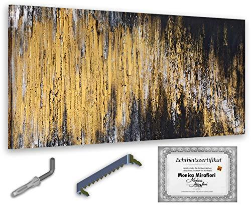 exclusive-gallery Monica Mirafiori I Gemälde Black & Gold I 140x70cm | XXL Leinwandbild handgemalt | Acrylgemälde auf Leinwand | Sehr großes Acrylbild auf Keilrahmen
