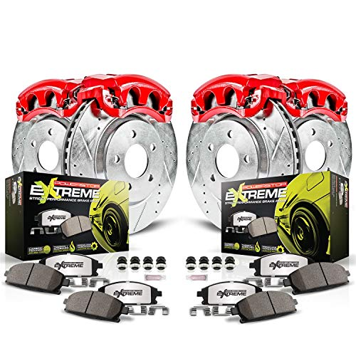 Power Stop KC2853-26 Z36 Truck & Tow Front and Rear Caliper Kit-Drilled/Slotted Brake Rotors, Carbon-Fiber Ceramic Brake Pads, Calipers