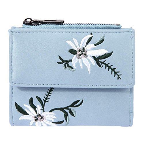 Domybest Vrouwen PU Lederen Geborduurde Korte Handtas Portemonnee Crossbody Tas (Blauw)