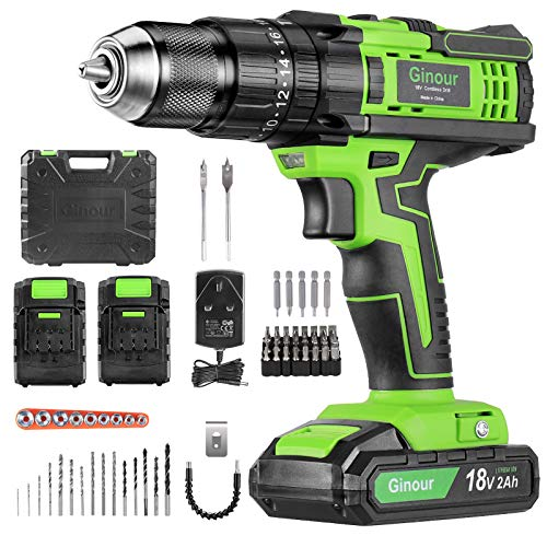 Cordless Drill Driver, Ginour 18V Combi Drill, Hammer Drill 20+3 Torque, 66 Accessories, 2Pcs 2000mAh Lithium Batteries, 45N.m Electric Drill Screwdriver, 13mm Collet, Double Speed, Led Light (Green)