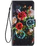 Felfy Kompatibel mit LG K8 / K9 2018 Hülle Bunte Painted Muster Schutzhülle,Handyhülle für LG K9 2018 Magnet Flip Hülle PU Lederhülle Tasche mit Kartenfach/Standfunktion - Elegante Rose