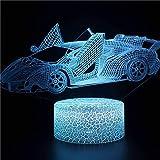 Coche deportivo fresco brillante luz de noche creativa base agrietada luz LED multicolor decoración creativa lámpara de mesa pequeña luz visual 3D luz de noche multicolor de acrílico