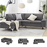 Esright Left Facing Sectional Sofa with Ottoman,Convertible Corner Couches with Armrest Storage, Sectional Couch for Living Room & Apartment, Left Chaise & Grey