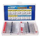 BOJACK 10 Valori 300 pezzi Diodi raddrizzatori 1N4001 1N4002 1N4003 1N4004 1N4005 1N4006 1N4007 Diodi Schottky 1N5817 1N5818 1N5819 Assortimento Kit