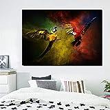 wZUN Pintura al óleo nórdica Carteles e Impresiones de Animales Acuarela Loro Lienzo Pintura Sala de Estar Mural decoración del hogar 60x90 Sin Marco