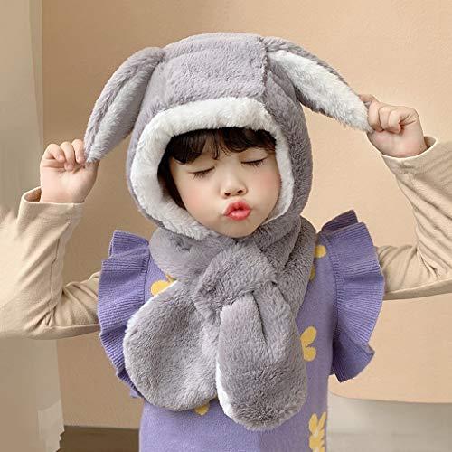 WZHZJ Oídos de Conejo de Felpa Sombrero de Invierno para niña niña niño Bufanda Ajustable Gruesas Orejeras Grifo Proteger Cara Cuello cálido