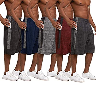 Essential Elements 5 Pack: Men's Active Performance Quick-Dry Lightweight Athletic Workout Gym Drawstring Basketball Shorts with Pockets (Small, Set A)