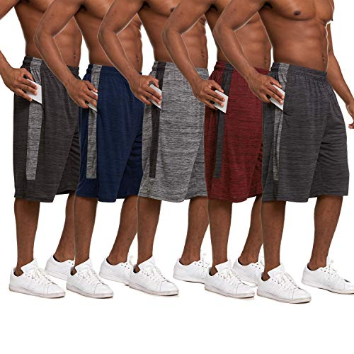 Essential Elements 5 Pack: Men's Active Performance Athletic Basketball Gym Cationic Shorts with Pockets (X-Large, Set A)