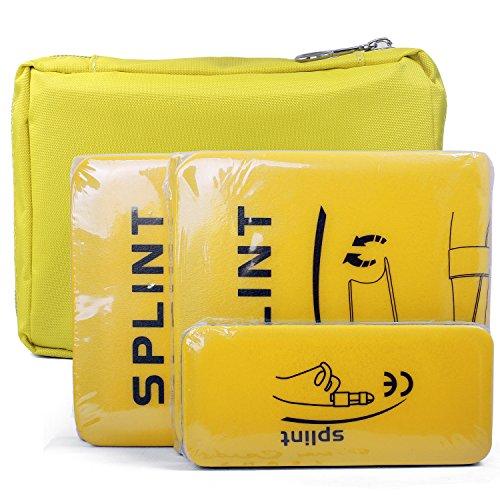 Férula Médica Splints: 4 Paquetes médica férula de inmovilización Kit de primeros auxilios para cuello, piernas, rodillas, pies, muñeca, mano, lesiones con bolso