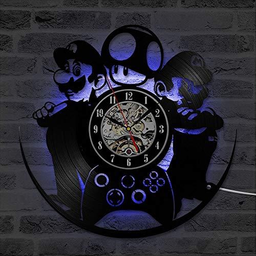 fdgdfgd Negro Retro CD Reloj Juego CD Disco de Vinilo Reloj de Pared LED Creativo Decoración Habitación de Niños | Diseño de Arte único