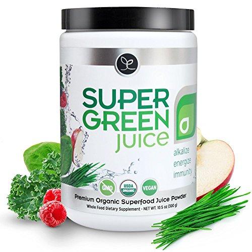 Super Green Juice - Certified USDA Organic Superfood Supplement Powder - 44 Organic Superfoods + Probiotics + Digestive Enzymes + Antioxidants - Best Tasting Vegan Greens - 10.5 Ounce (30 Day Supply)