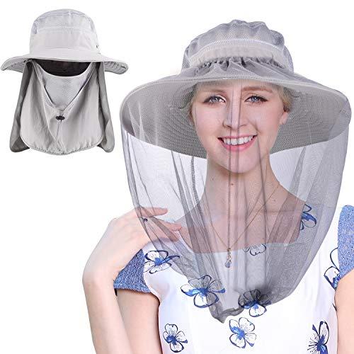 Mosquito Head Net Hat, Fishing Hat Gardening Hat Hiking Hat with 2pcs Bug Net,Light Gray