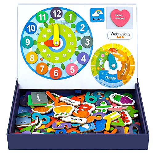 jerryvon Juguetes Educativos Montessori Calendario Reloj Madera Magnético Puzzles Infantiles 3 4 5 6 Anos