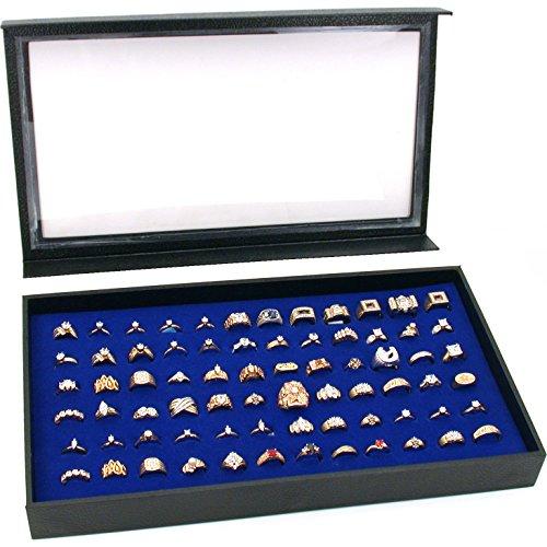 72 Anneau Bleu Bijoux Boîte Cas Couvercle Magnétique New