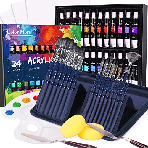 Acrylic Paint Set, 49 Piece Painting Supplies Set, Includes 24 Acrylic Paints, 16 Painting Brushes with Case,Paint Knife,Art Sponge and Canvas,Palette- Deluxe Acrylic Paint Kit for Artists, Students