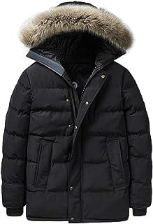 LvRao Men's Padded Winter Jacket Windbreaker Thicken Puffer Coats Parka with Faux Fur Hood