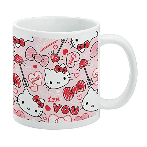 Hello Kitty Love You Valentine's Pattern White Mug