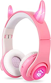 AZACOW Kids Headphones Bluetooth Wireless, TWS Over-Ear Headphones with Cow Pattern, 85db Volume Limited, Colorful LED Lig...