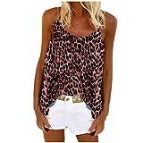 KIMODO Damen Tanktops Sommer Ärmellos T-Shirt Beach Blusen Lässige Locker Oberteile Frauen Blumenmuste Sexy Rundhals Beiläufig Übergröße Tunika (Pink-A, M)