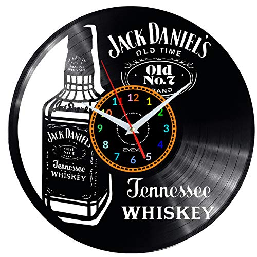 EVEVO Whisky Wanduhr Vinyl Schallplatte Retro-Uhr groß Uhren Style Raum Home Dekorationen Tolles Geschenk Uhr Whisky