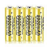 Kuyoly 4 pcs Pilas 18650 Pilas Recargable 3,7 V 9900 Mah de Iones de Litio de Alta Capacidad Baterías, 1800 Ciclos de Larga Duración con Botón Superior Pilas para Linterna,18x65mm