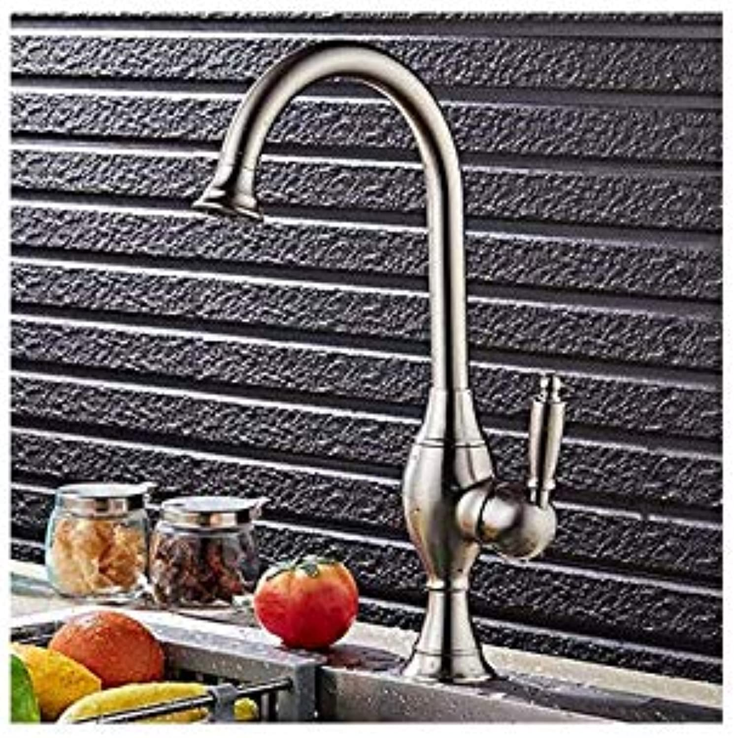 Water Taptaps Kitchen Dish Brushed Faucet Hot and Cold Kitchen Bathroom Dual-Use Basin Faucet Bathroom Single Hole Washbasin Faucet