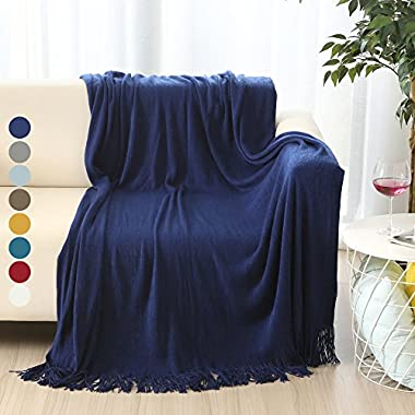 ALPHA HOME Soft Throw Blanket Warm & Cozy for Couch Sofa Bed Beach Travel - 50  x 60 , Navy