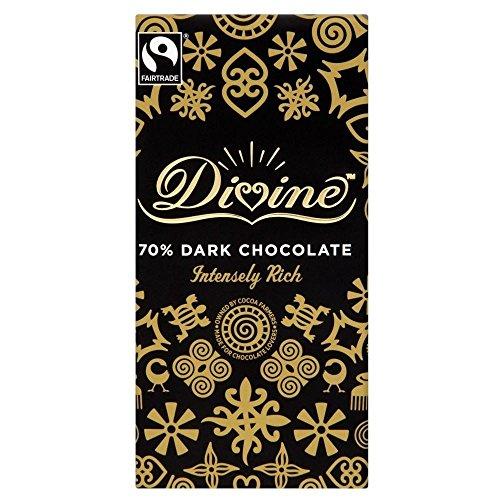 Divine Comercio Justo Chocolate Negro - 70% De Cacao (100g) (Paquete de 2)