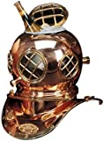 "7.5"" Polished Brass & Copper Mark V Dive Helmet Ice Bucket"