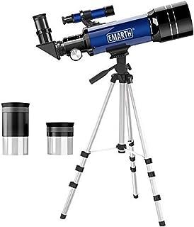 QMU 天体望遠鏡 子供 初学者向け 屈折式 口径70mm テレスコープ 天体観測 バードウォッチング 三脚 収納バッグ 日本語説明書付き ブルー