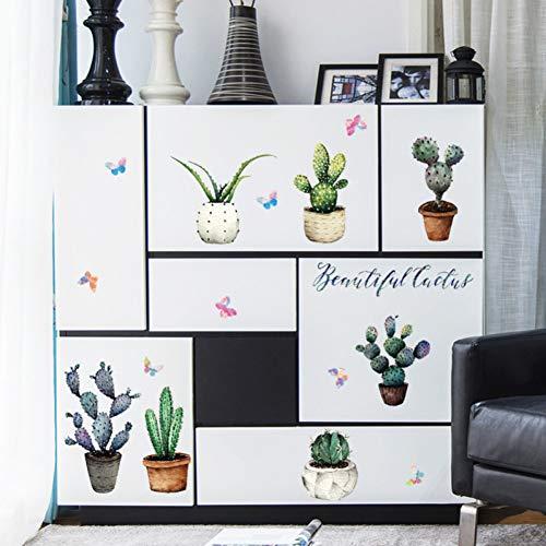 TYLOLMZ Cactus pot muursticker kabinet vensterbank sticker wooncultuur afneembare muursticker