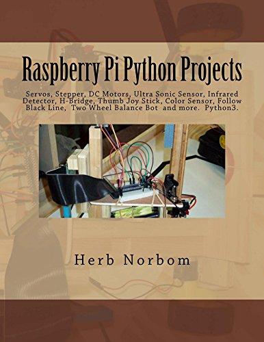 Raspberry Pi Python Projects: Pyhton3 Tkinter/Ttk, Clock,Temperature, Tactile, Ultra Sonic & Color Sensor, Servo, Stepper, DC Motor, Infrared Detector, ... Stick, Two Wheel Balance (English Edition)