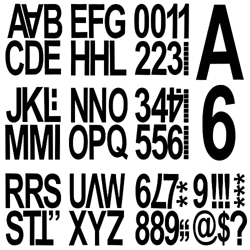 90 Pieces Stick-on Vinyl Letters and Numbers in 6 Inches, Black Removable Letters Numbers Sticker, Waterproof Big Size Letters Alphabet Stickers, Capital Letter Stickers Kit for Indoor Outdoor Mailbox