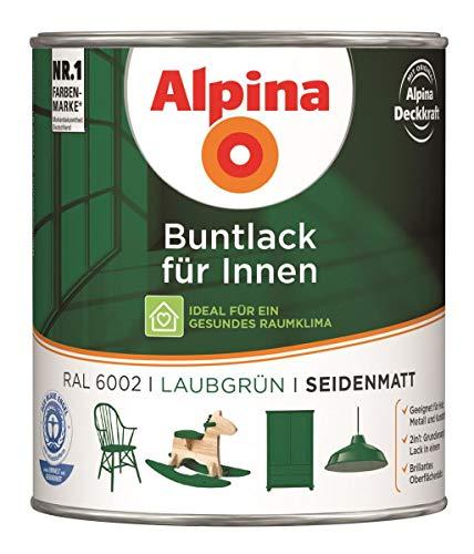 Alpina Buntlack für Innen Seidenmatt 0,75 Liter Farbwahl, Farbe (RAL):RAL 6002 Laubgrün