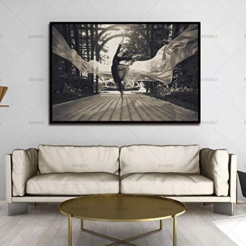N / A Cuadro Lienzo Pintura Arte de la Pared Lienzo Blanco y Negro Pintura Bailarina decoración para la Sala de Estar sin Marco Morden Imprimir 40x50 cm Sin Marco