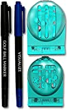 VISUALIZE The Original TRI-LINE Golf Alignment Kit - (2-Pack) 3-line Golf Ball Marker - Golf Ball Marker Stencil - 2 Ball Markers and 2 Pens (with Fine and Medium Tips)